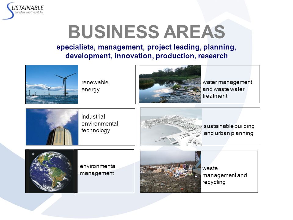 BUSINESS AREAS specialists, management, project leading, planning, development, innovation, production, research water management and waste water trea