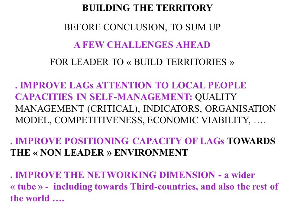 BUILDING THE TERRITORY D.