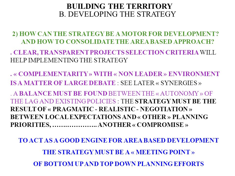 BUILDING THE TERRITORY B.