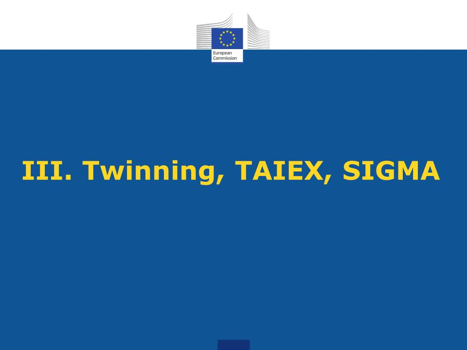 III. Twinning, TAIEX, SIGMA