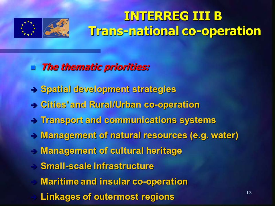 12 n The thematic priorities: è Spatial development strategies è Cities and Rural/Urban co-operation è Transport and communications systems è Manageme