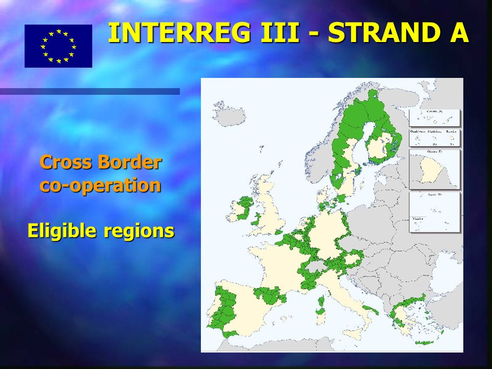 8 Cross Border co-operation Eligible regions INTERREG III - STRAND A