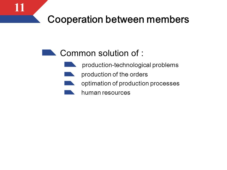 11 Cooperation between members Common solution of : production-technological problems production of the orders optimation of production processes human resources