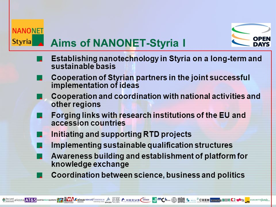 Aims of NANONET-Styria I Establishing nanotechnology in Styria on a long-term and sustainable basis Cooperation of Styrian partners in the joint successful implementation of ideas Cooperation and coordination with national activities and other regions Forging links with research institutions of the EU and accession countries Initiating and supporting RTD projects Implementing sustainable qualification structures Awareness building and establishment of platform for knowledge exchange Coordination between science, business and politics