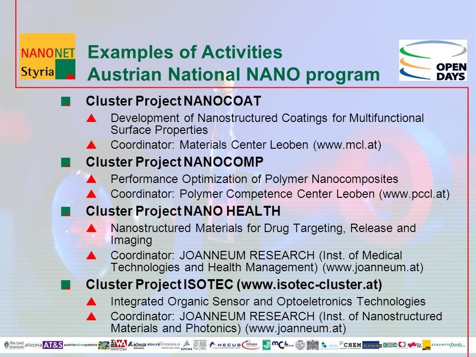 Examples of Activities Austrian National NANO program Cluster Project NANOCOAT Development of Nanostructured Coatings for Multifunctional Surface Properties Coordinator: Materials Center Leoben (www.mcl.at) Cluster Project NANOCOMP Performance Optimization of Polymer Nanocomposites Coordinator: Polymer Competence Center Leoben (www.pccl.at) Cluster Project NANO HEALTH Nanostructured Materials for Drug Targeting, Release and Imaging Coordinator: JOANNEUM RESEARCH (Inst.
