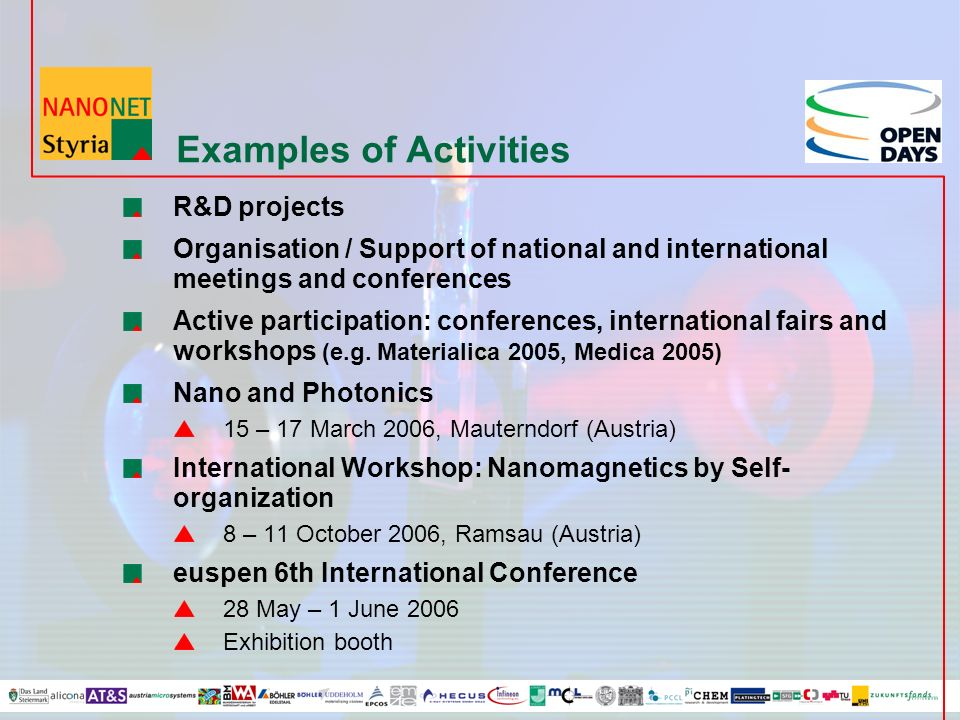 Examples of Activities R&D projects Organisation / Support of national and international meetings and conferences Active participation: conferences, i