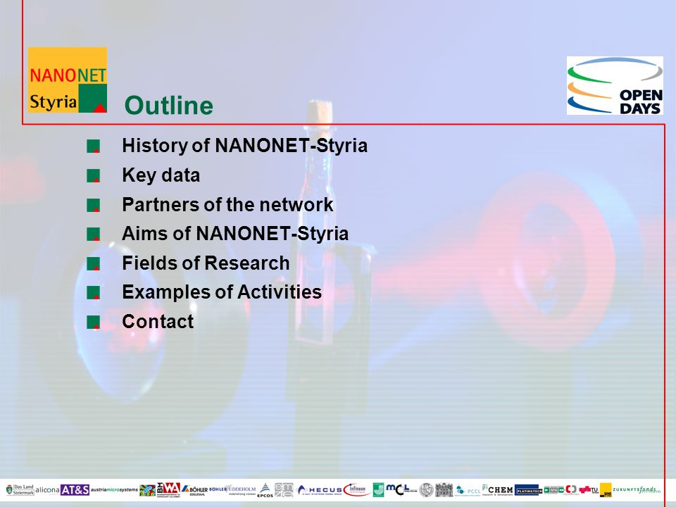 Outline History of NANONET-Styria Key data Partners of the network Aims of NANONET-Styria Fields of Research Examples of Activities Contact