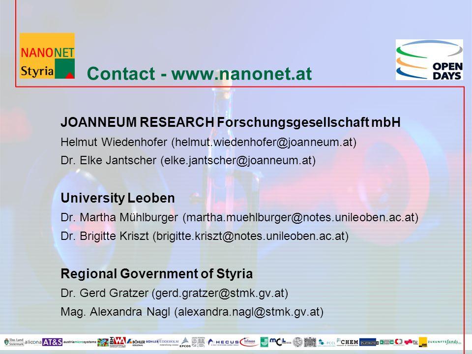Contact - www.nanonet.at JOANNEUM RESEARCH Forschungsgesellschaft mbH Helmut Wiedenhofer (helmut.wiedenhofer@joanneum.at) Dr.