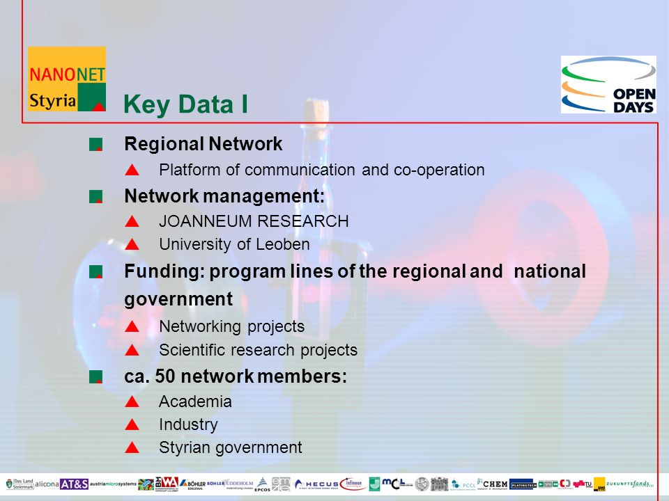 Key Data I Regional Network Platform of communication and co-operation Network management: JOANNEUM RESEARCH University of Leoben Funding: program lines of the regional and national government Networking projects Scientific research projects ca.