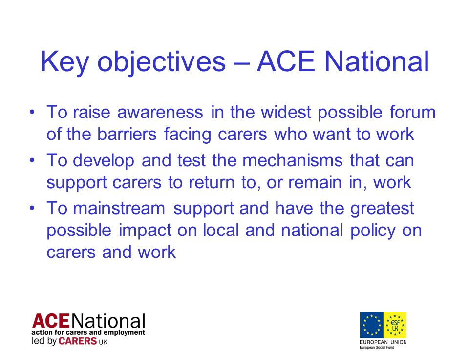 Key objectives – ACE National To raise awareness in the widest possible forum of the barriers facing carers who want to work To develop and test the mechanisms that can support carers to return to, or remain in, work To mainstream support and have the greatest possible impact on local and national policy on carers and work