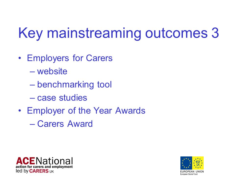 Key mainstreaming outcomes 3 Employers for Carers –website –benchmarking tool –case studies Employer of the Year Awards –Carers Award