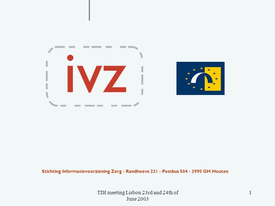 TDI meeting Lisbon 23rd and 24th of June 2003 1 Stichting Informatievoorziening Zorg - Randhoeve 231 - Postbus 504 - 3990 GH Houten