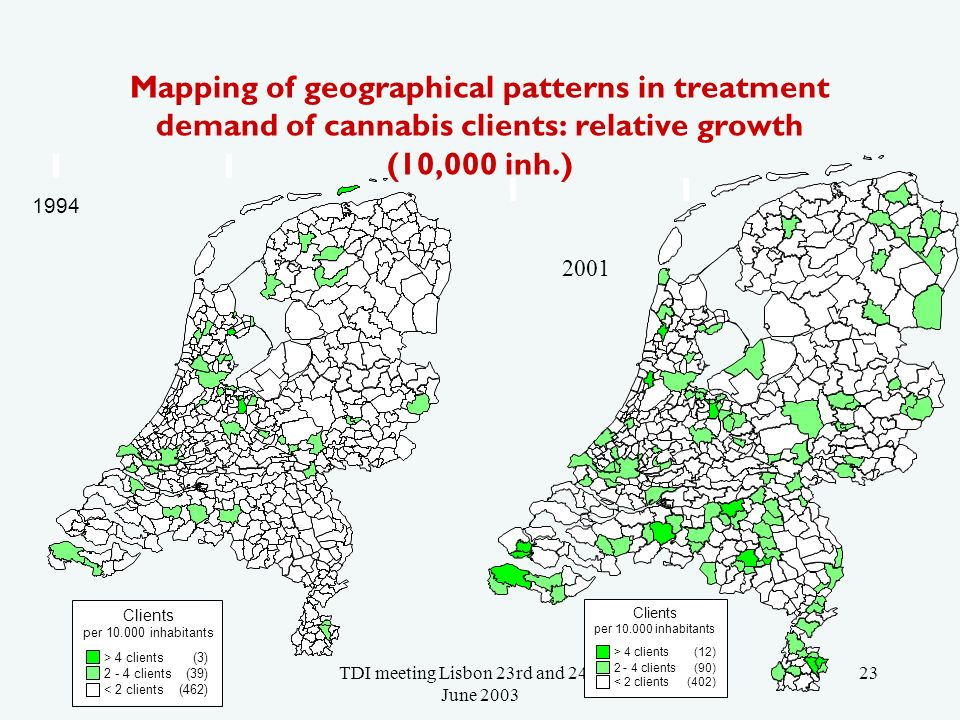 TDI meeting Lisbon 23rd and 24th of June 2003 23 Mapping of geographical patterns in treatment demand of cannabis clients: relative growth (10,000 inh.) Clients per 10.000 inhabitants > 4 clients (3) 2 - 4 clients (39) < 2 clients (462) 1994 Clients per 10.000 inhabitants > 4 clients (12) 2 - 4 clients (90) < 2 clients (402) 2001