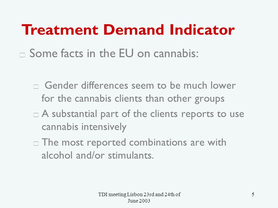 TDI meeting Lisbon 23rd and 24th of June 2003 26 Age in categories of single and multiple cannabis users (LADIS data 2001) 0% 5% 10% 15% 20% 25% 30% 35% 40% 45% 50% 15-19 yrs.20-29 yrs.30-39 yrs.40 yrs.