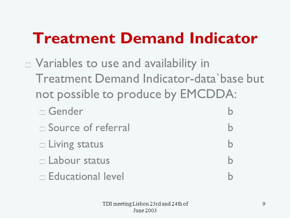TDI meeting Lisbon 23rd and 24th of June 2003 10 Treatment Demand Indicator Give an interpretation providing: context (i.e.