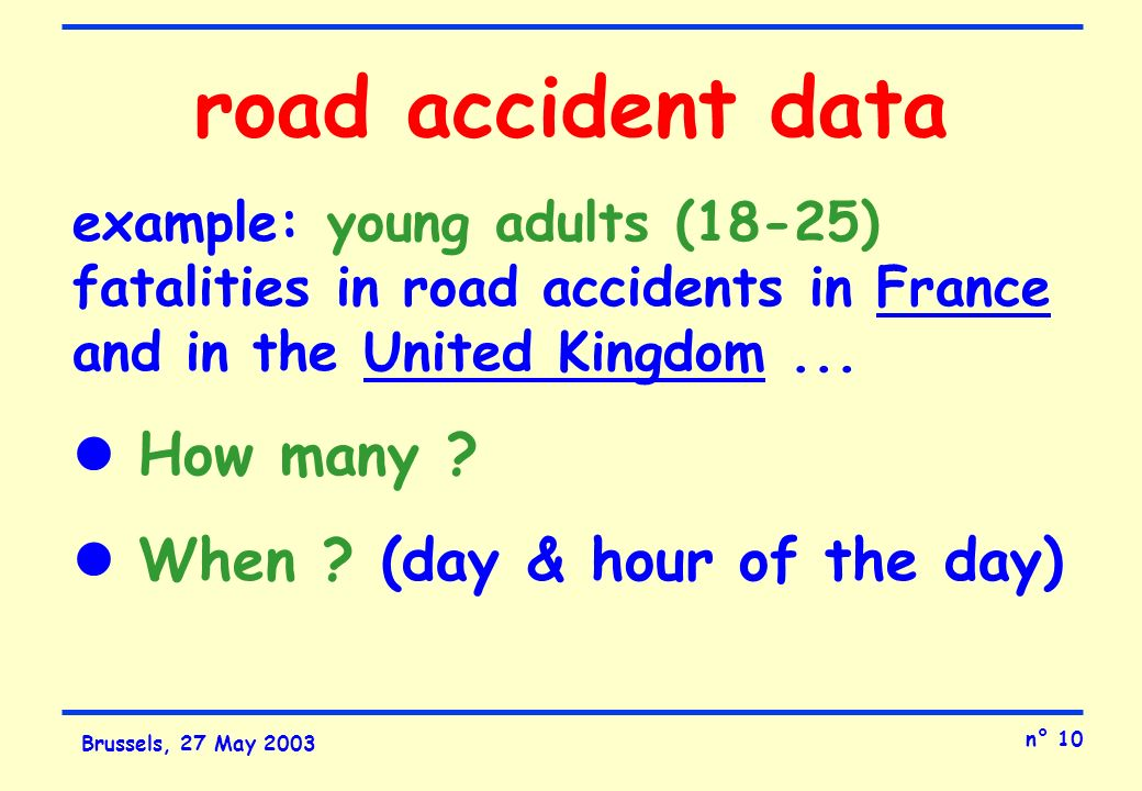 n° 10 Brussels, 27 May 2003 road accident data example: young adults (18-25) fatalities in road accidents in France and in the United Kingdom...
