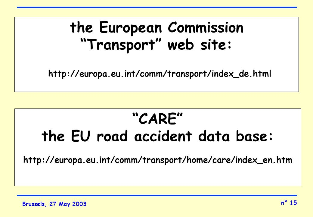 n° 15 Brussels, 27 May 2003 the European Commission Transport web site: http://europa.eu.int/comm/transport/index_de.html CARE the EU road accident data base: http://europa.eu.int/comm/transport/home/care/index_en.htm