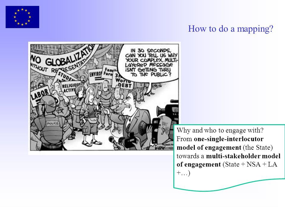 How to do a mapping? Why and who to engage with? From one-single-interlocutor model of engagement (the State) towards a multi-stakeholder model of eng