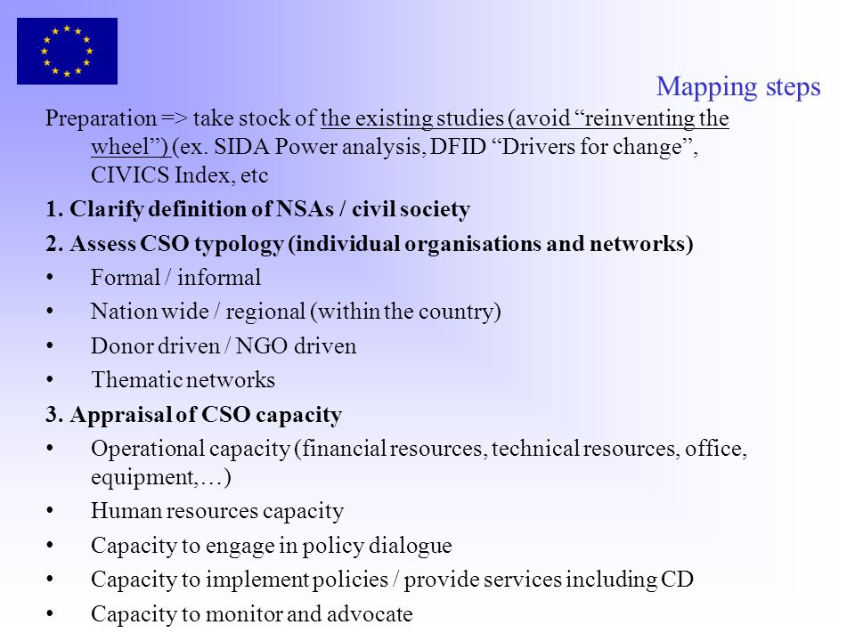 Mapping steps Preparation => take stock of the existing studies (avoid reinventing the wheel) (ex. SIDA Power analysis, DFID Drivers for change, CIVIC