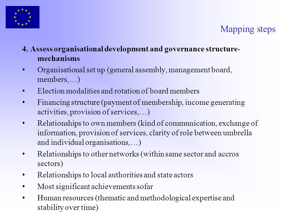Mapping steps 4. Assess organisational development and governance structure- mechanisms Organisational set up (general assembly, management board, mem