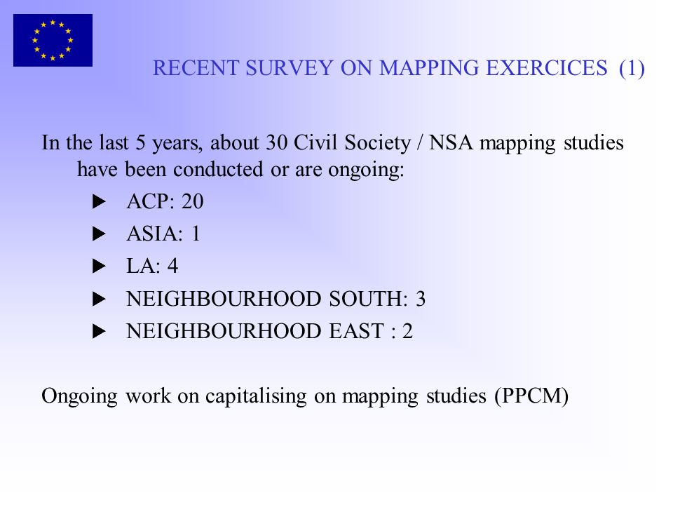 RECENT SURVEY ON MAPPING EXERCICES (1) In the last 5 years, about 30 Civil Society / NSA mapping studies have been conducted or are ongoing: ACP: 20 A