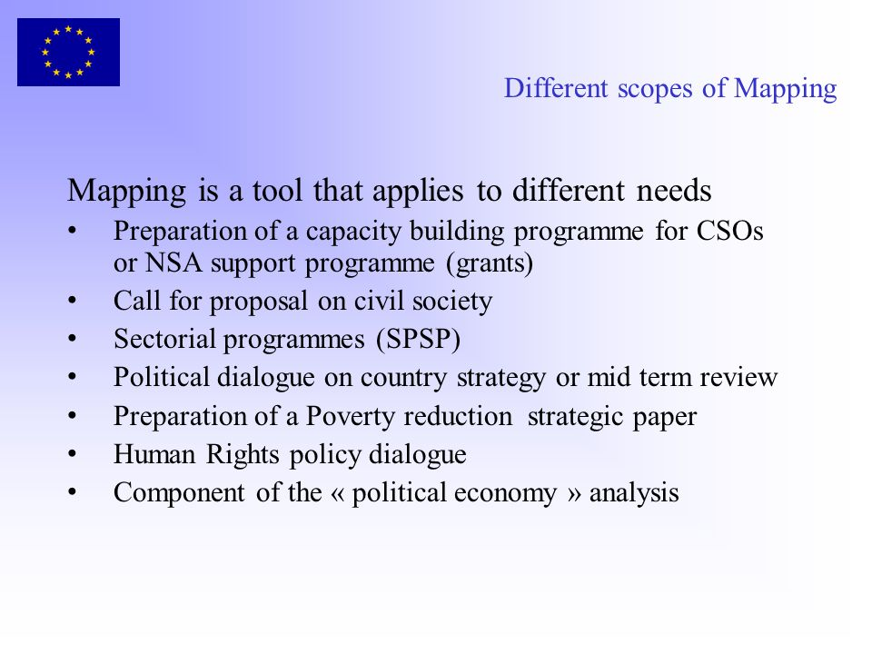 Different scopes of Mapping Mapping is a tool that applies to different needs Preparation of a capacity building programme for CSOs or NSA support pro
