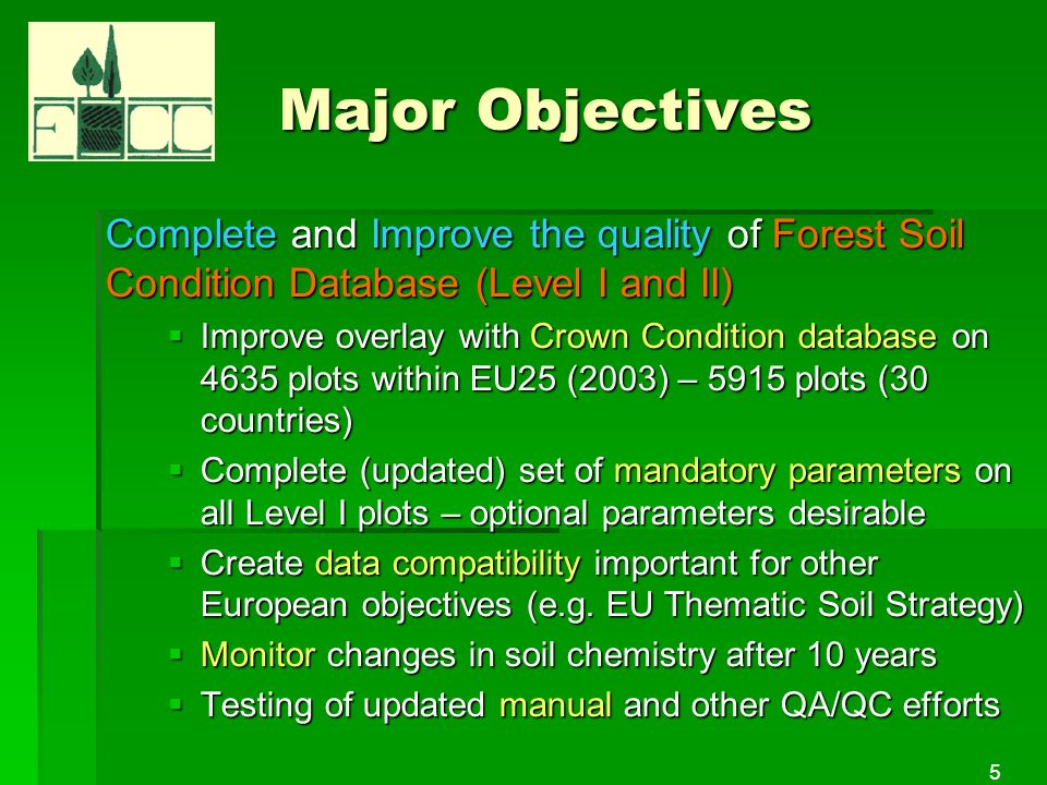 5 Major Objectives Complete and Improve the quality of Forest Soil Condition Database (Level I and II) Improve overlay with Crown Condition database on 4635 plots within EU25 (2003) – 5915 plots (30 countries) Improve overlay with Crown Condition database on 4635 plots within EU25 (2003) – 5915 plots (30 countries) Complete (updated) set of mandatory parameters on all Level I plots – optional parameters desirable Complete (updated) set of mandatory parameters on all Level I plots – optional parameters desirable Create data compatibility important for other European objectives (e.g.