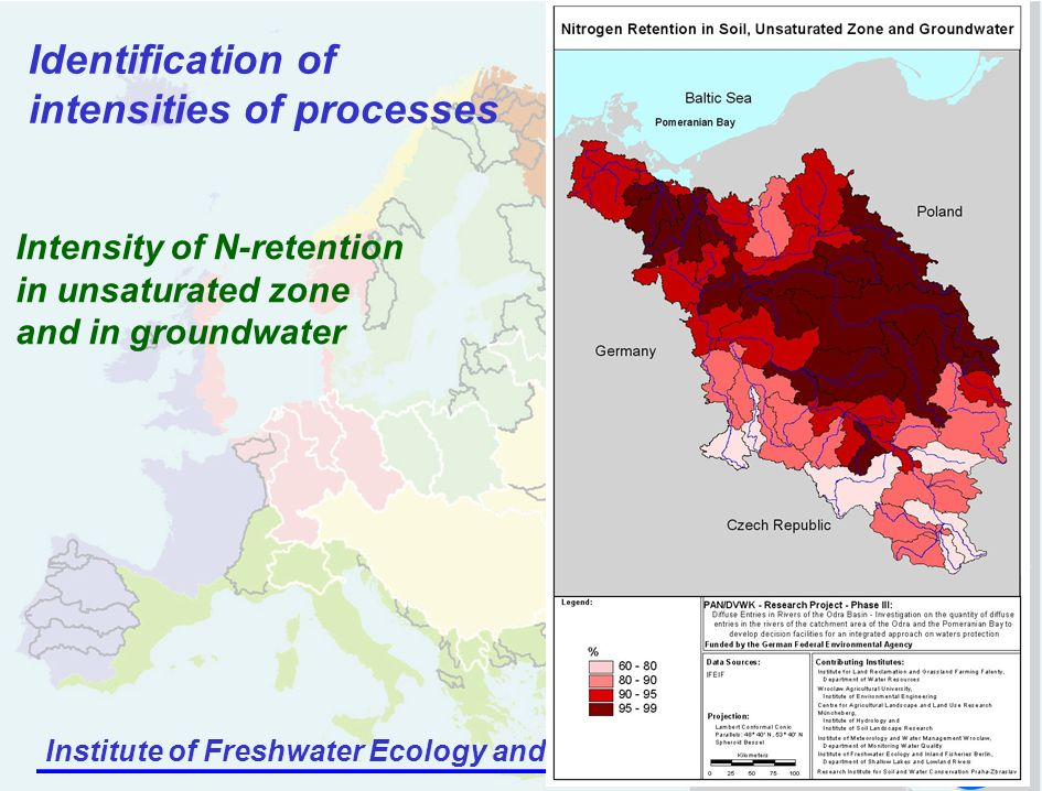Institute of Freshwater Ecology and Inland Fisheries Identification of intensities of processes Intensity of N-retention in unsaturated zone and in groundwater