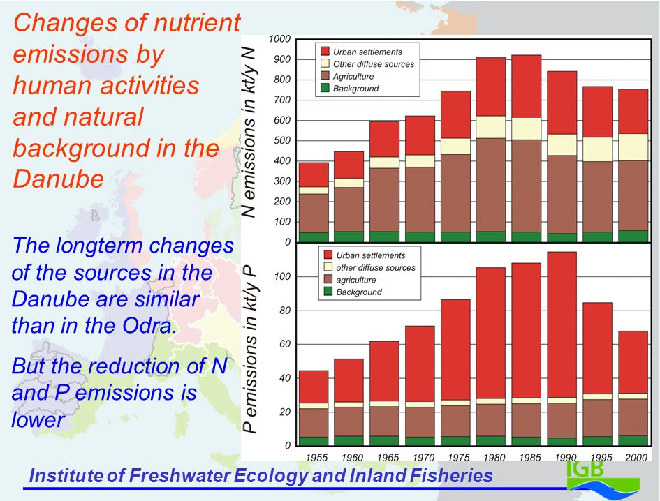 Institute of Freshwater Ecology and Inland Fisheries Changes of nutrient emissions by human activities and natural background in the Danube The longterm changes of the sources in the Danube are similar than in the Odra.