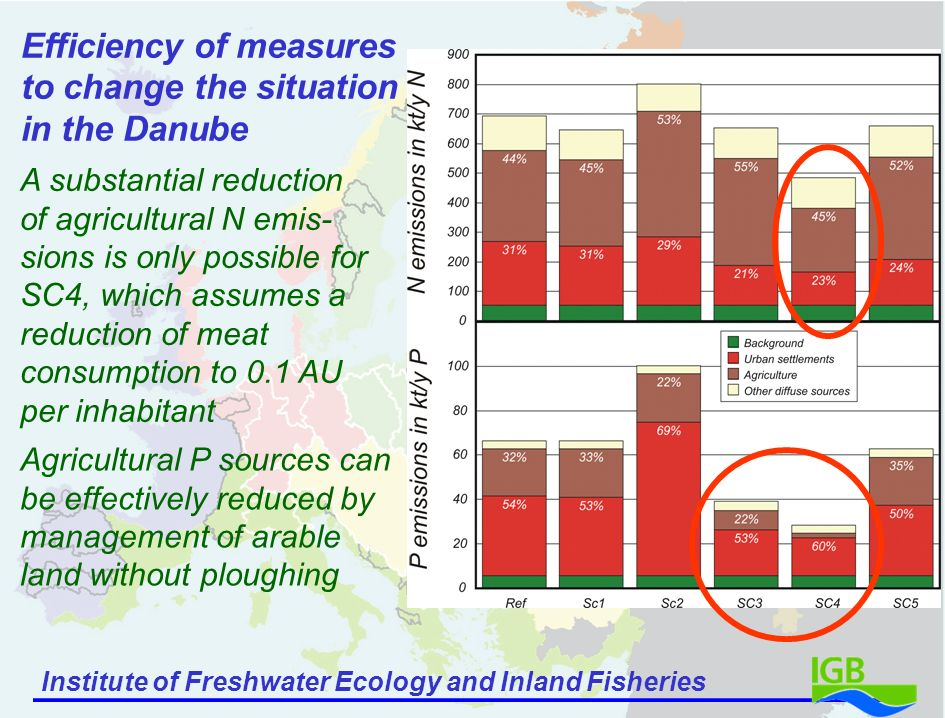 Institute of Freshwater Ecology and Inland Fisheries A substantial reduction of agricultural N emis- sions is only possible for SC4, which assumes a reduction of meat consumption to 0.1 AU per inhabitant Efficiency of measures to change the situation in the Danube Agricultural P sources can be effectively reduced by management of arable land without ploughing