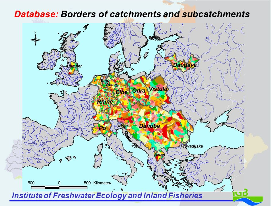 Institute of Freshwater Ecology and Inland Fisheries Database: Borders of catchments and subcatchments