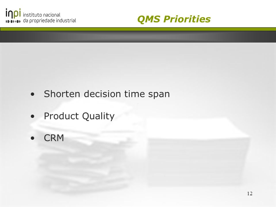 12 Shorten decision time span Product Quality CRM QMS Priorities