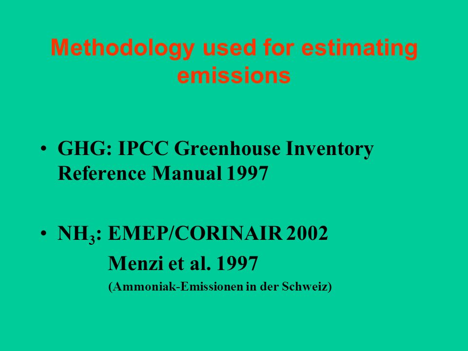 Methodology used for estimating emissions GHG: IPCC Greenhouse Inventory Reference Manual 1997 NH 3 : EMEP/CORINAIR 2002 Menzi et al. 1997 (Ammoniak-E