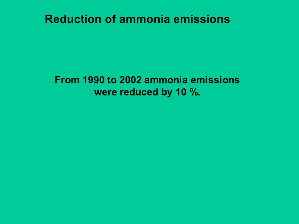 Reduction of ammonia emissions From 1990 to 2002 ammonia emissions were reduced by 10 %.