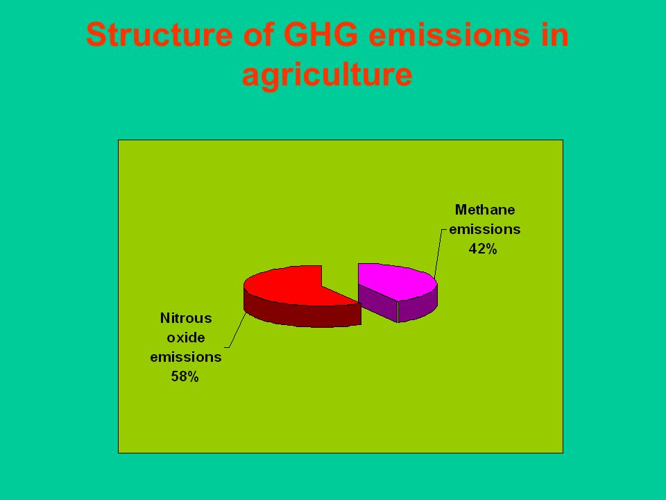 Structure of GHG emissions in agriculture