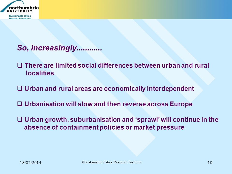18/02/201410 ©Sustainable Cities Research Institute So, increasingly............ There are limited social differences between urban and rural localiti
