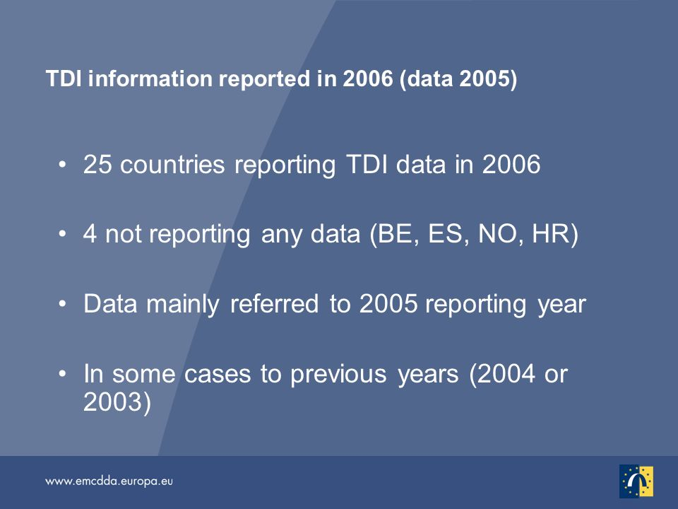 TDI information reported in 2006 (data 2005) 25 countries reporting TDI data in 2006 4 not reporting any data (BE, ES, NO, HR) Data mainly referred to 2005 reporting year In some cases to previous years (2004 or 2003)