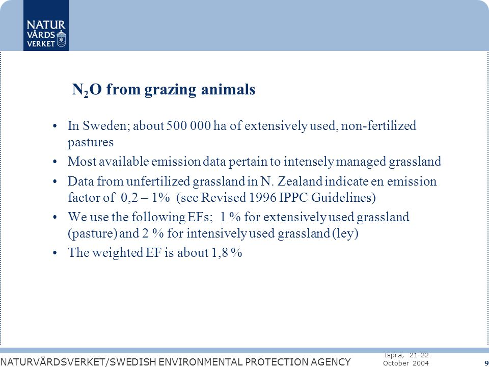 NATURVÅRDSVERKET/SWEDISH ENVIRONMENTAL PROTECTION AGENCY Ispra, 21-22 October 2004 9 N 2 O from grazing animals In Sweden; about 500 000 ha of extensively used, non-fertilized pastures Most available emission data pertain to intensely managed grassland Data from unfertilized grassland in N.
