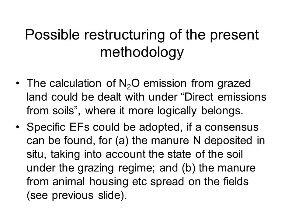 Possible restructuring of the present methodology The calculation of N 2 O emission from grazed land could be dealt with under Direct emissions from soils, where it more logically belongs.