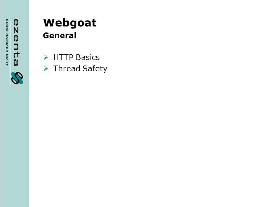 Webgoat General HTTP Basics Thread Safety