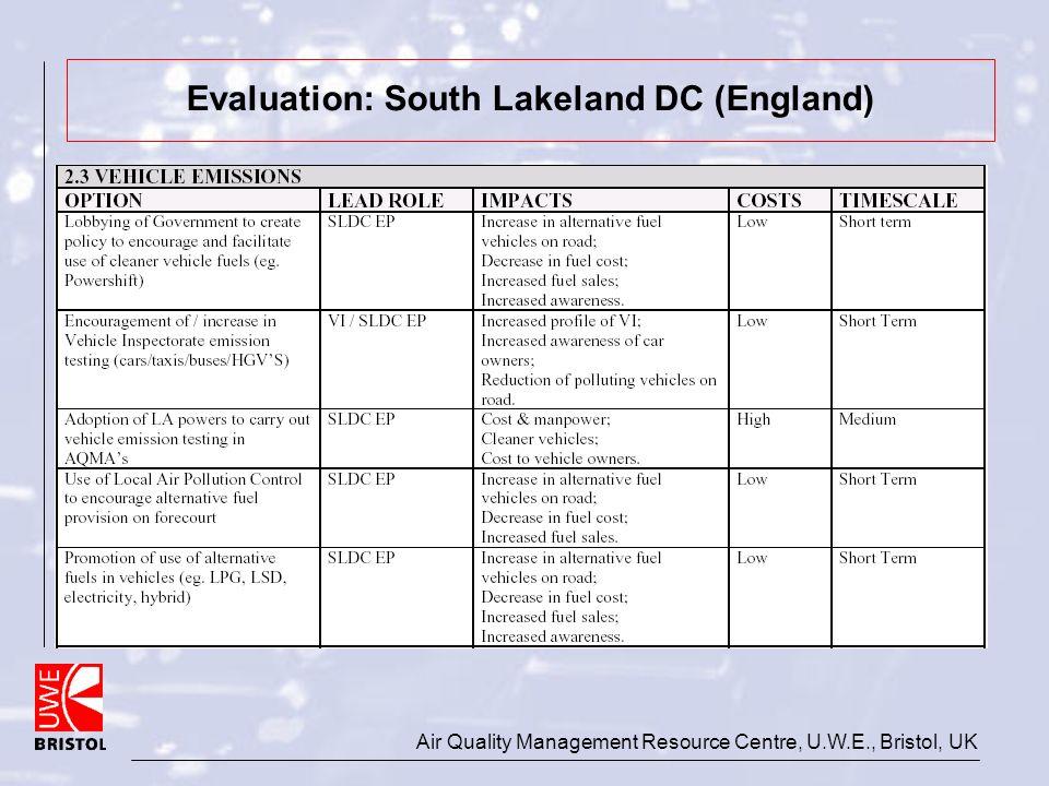 Air Quality Management Resource Centre, U.W.E., Bristol, UK Evaluation: South Lakeland DC (England)