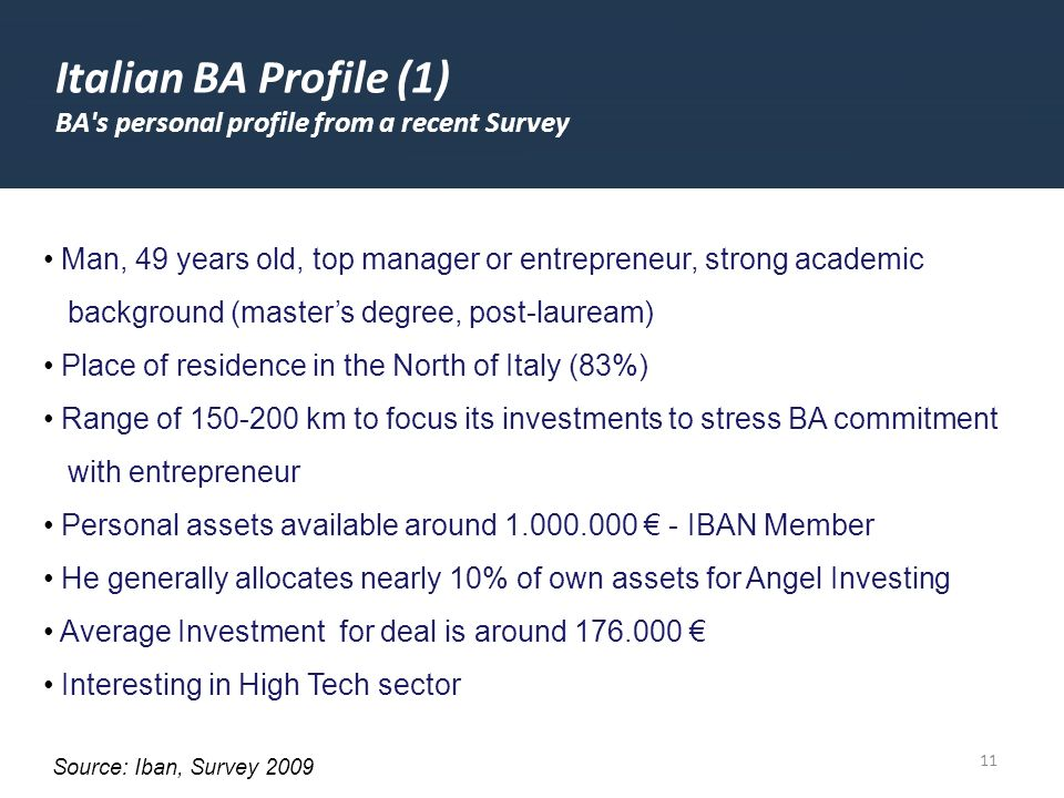 11 Italian BA Profile (1) BA s personal profile from a recent Survey Man, 49 years old, top manager or entrepreneur, strong academic background (masters degree, post-lauream) Place of residence in the North of Italy (83%) Range of 150-200 km to focus its investments to stress BA commitment with entrepreneur Personal assets available around 1.000.000 - IBAN Member He generally allocates nearly 10% of own assets for Angel Investing Average Investment for deal is around 176.000 Interesting in High Tech sector Source: Iban, Survey 2009