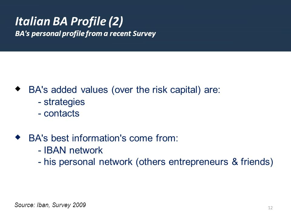 12 Italian BA Profile (2) BA's personal profile from a recent Survey BA's added values (over the risk capital) are: - strategies - contacts BA's best