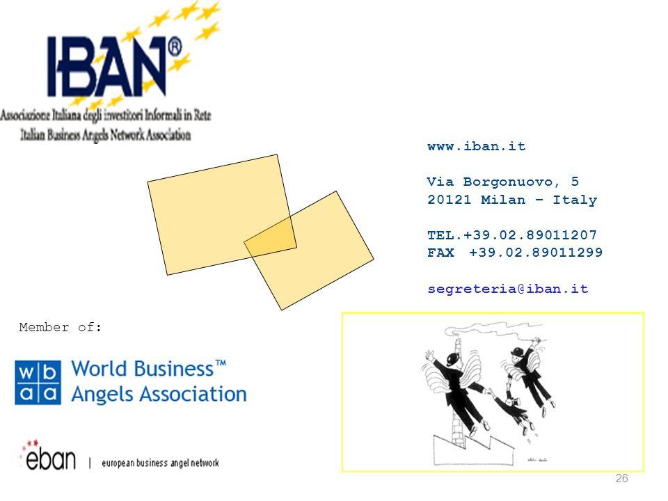 26 www.iban.it Via Borgonuovo, 5 20121 Milan – Italy TEL.+39.02.89011207 FAX +39.02.89011299 segreteria@iban.it Member of: