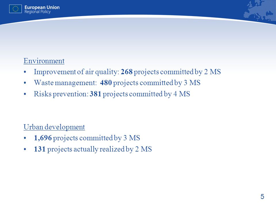 6 Reports screening for Evaluations Focus on: Activities co-financed under the 2000-2006 programming period Specific implementation issues Main Themes covered: R&D, ICT, area-based integrated plans, financial engineering, macro economic modelling, implementation issues (lessons from the previous programming period and analysis of implementation process for 2007-13 programming period)