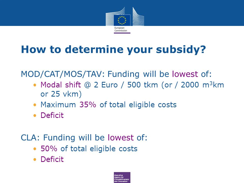 Executive Agency for Competitiveness and Innovation How to determine your subsidy? MOD/CAT/MOS/TAV: Funding will be lowest of: Modal shift @ 2 Euro /