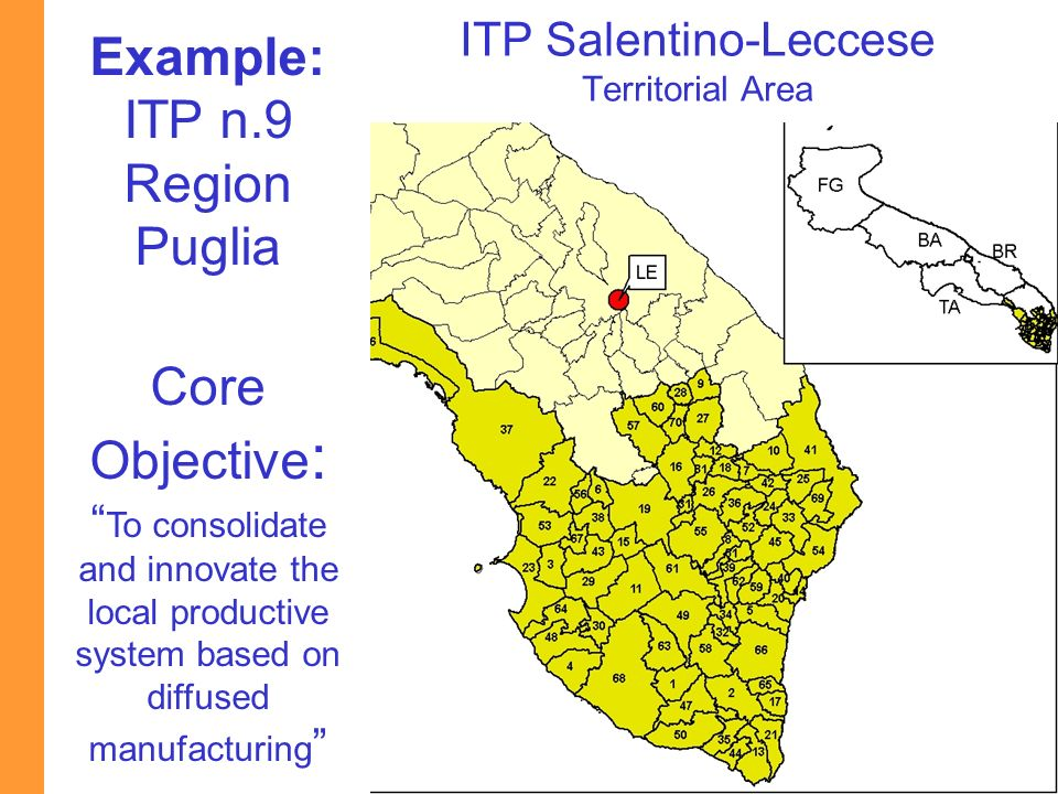 Ministry of Economic Development Example: ITP n.9 Region Puglia Core Objective : To consolidate and innovate the local productive system based on diff
