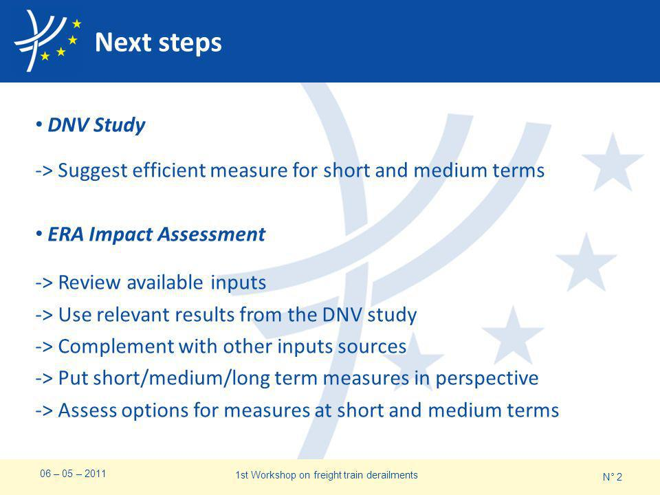 Next steps DNV Study -> Suggest efficient measure for short and medium terms ERA Impact Assessment -> Review available inputs -> Use relevant results from the DNV study -> Complement with other inputs sources -> Put short/medium/long term measures in perspective -> Assess options for measures at short and medium terms N° 2 06 – 05 – st Workshop on freight train derailments