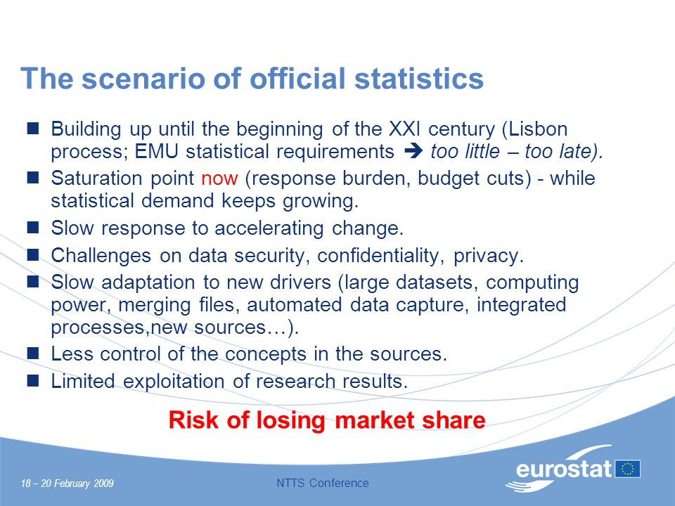 18 – 20 February 2009 NTTS Conference The scenario of official statistics Building up until the beginning of the XXI century (Lisbon process; EMU stat