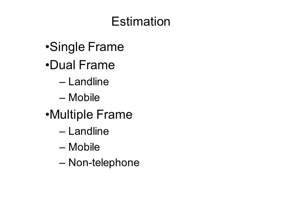 Estimation Single Frame Dual Frame – Landline – Mobile Multiple Frame – Landline – Mobile – Non-telephone